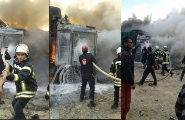 Колонну грузовиков разбомбили на турецко-сирийской границе