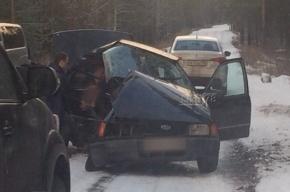 Люди вытаскивают пассажиров из раскуроченной машины на Приморском шоссе