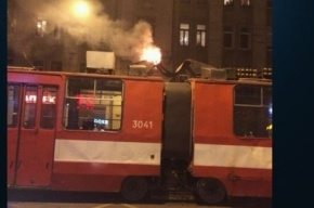Вагон трамвая загорелся на остановке «улица Куйбышева» в Петроградском районе