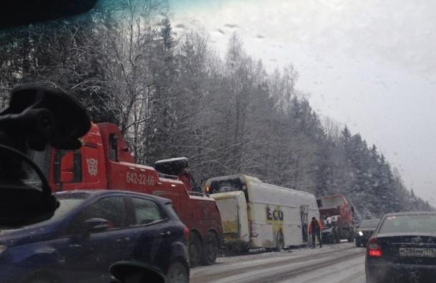 Автобус улетел в кювет на Киевском шоссе