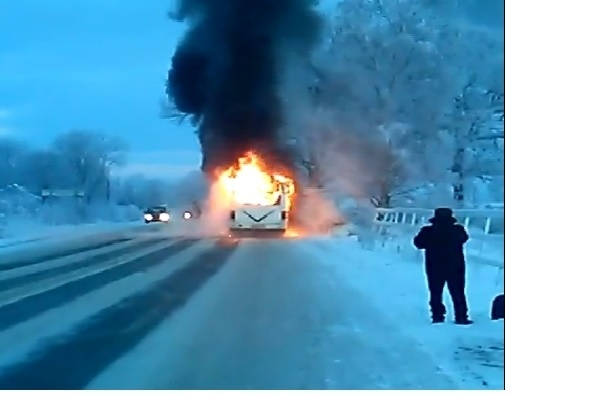 Автобус №619 сгорел в Екатериновке