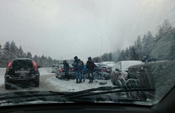 Крупнейшая массовая авария произошла в Ленобласти