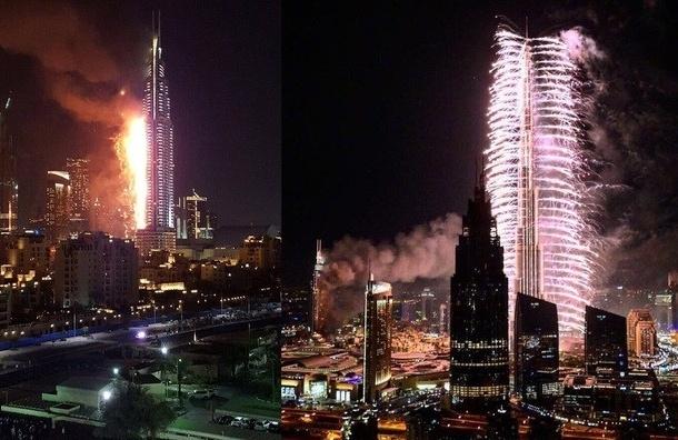 Крупный пожар в Дубае произошел в новогоднюю ночь