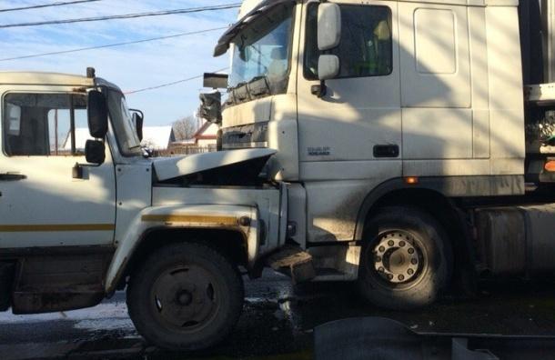 Фура лоб в лоб столкнулась с грузовиком на Ропшинском шоссе