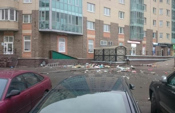Жительница дома на Варшавской выбросила с балкона мусор, технику и стремянку