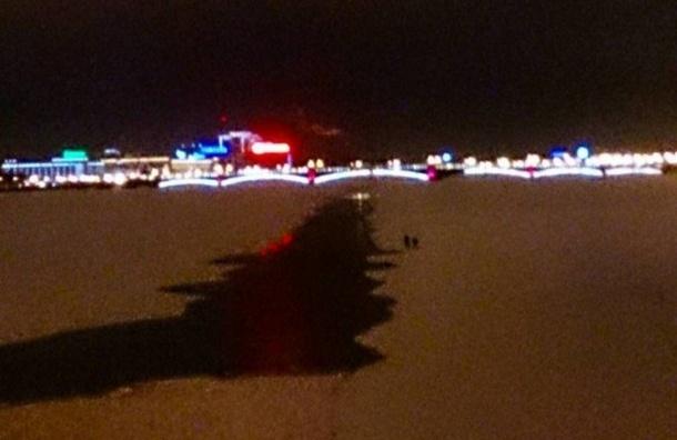 Человек с ребенком ради селфи вышел на тонкий лед растаявшей Невы