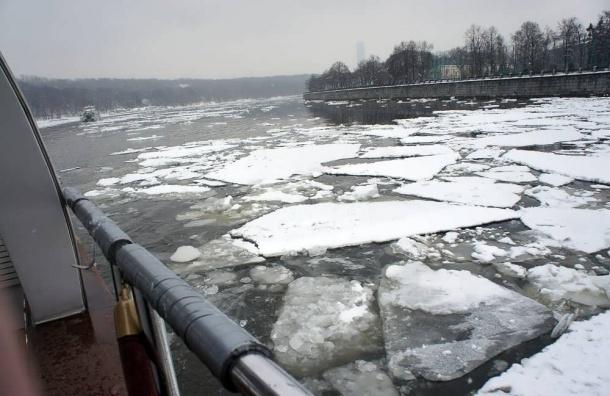 Неадекватная москвичка каталась ночью на льдине по Москве-реке