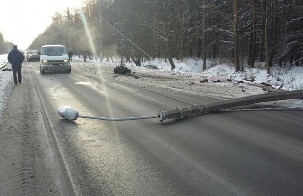Сбитый столб и вырванный из машины мотор лежат на Волхонском шоссе
