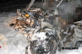 Четыре человека сгорели в отечественной машине на «Коле»