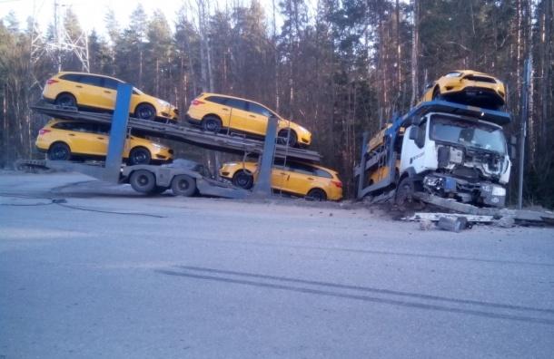 Автовоз с желтыми «Фордами» прогнулся напополам в кювете во Всеволожске