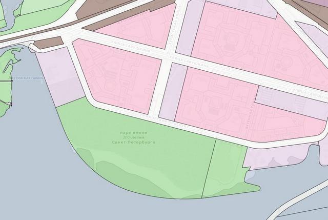 _Дугообразная линия задуманного намыва и реальные границы парка на карте Правил землепользования и застройки