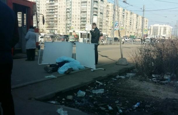 Труп человека на остановке Косыгина прикрыли рекламной стойкой