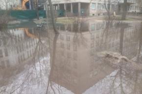 Территорию Мариинской больницы затопило после прорыва трубы с холодной водой