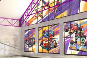 Вестибюль станции «Шушары» украсят витражи с гоночными машинами