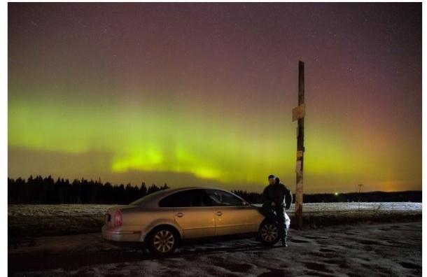 Очевидец запечатлел Северное сияние в Зеленогорске