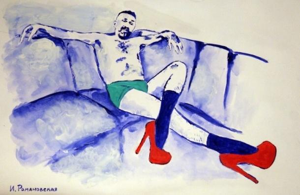 Петербургская художница нарисовала Шнура грудью в трусах и на лабутенах