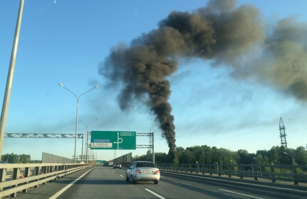 Столб дыма поднимается в районе бывшего пионерлагеря на КАД