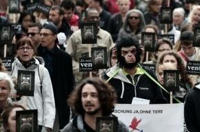 Сотни противников опытов над животными вышли на улицы Страсбурга