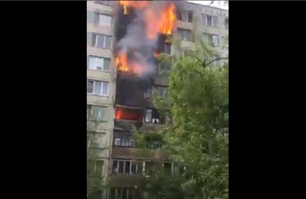Кадры крупного пожара на Белы Куна появились в Сети