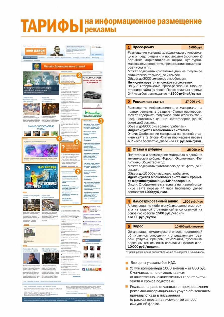 Стоимость информационного и спонсорского размещения на сайте MR7.RU