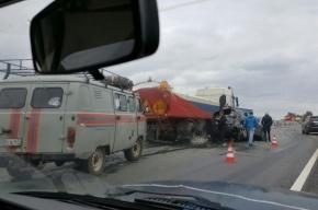 Иномарка врезалась в поливальную машину на Московском шоссе