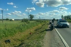 Лесовоз столкнул мотоциклистку в канаву на Ропшинском шоссе