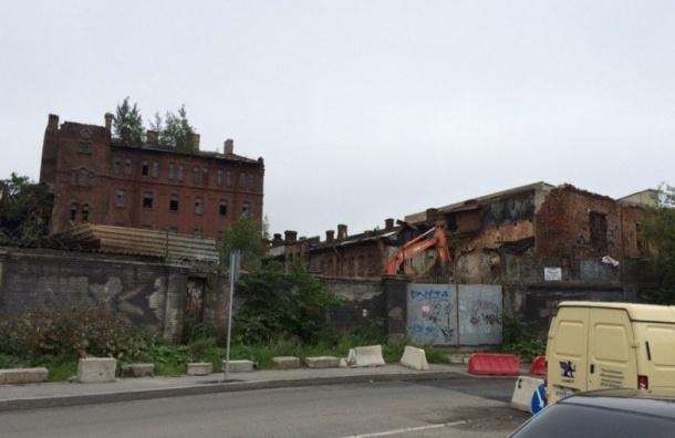 Корпуса бывшего колбасного завода сносят на Лиговском проспекте