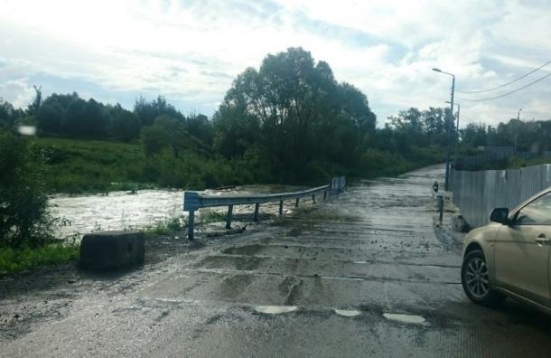 Речка Дудергофка затопила мост и дома в Старо-Паново