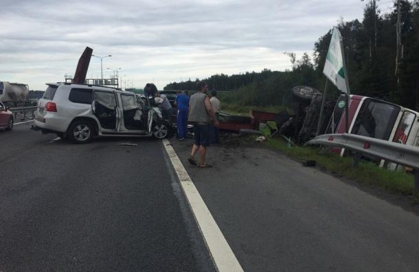 Четверо взрослых и ребенок пострадали в аварии с тягачом и иномаркой на КАД
