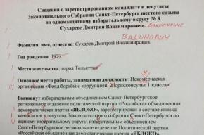 Сведения о кандидате «Яблока» опубликовали с уймой ошибок