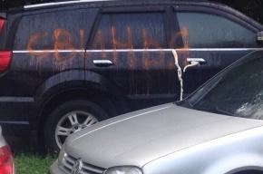 Автохаму на Богатырском разрисовали машину