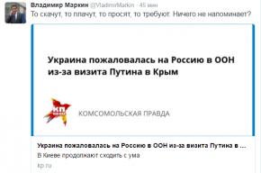 Маркин с иронией ответил на жалобу Украины из-за визита Путина в Крым
