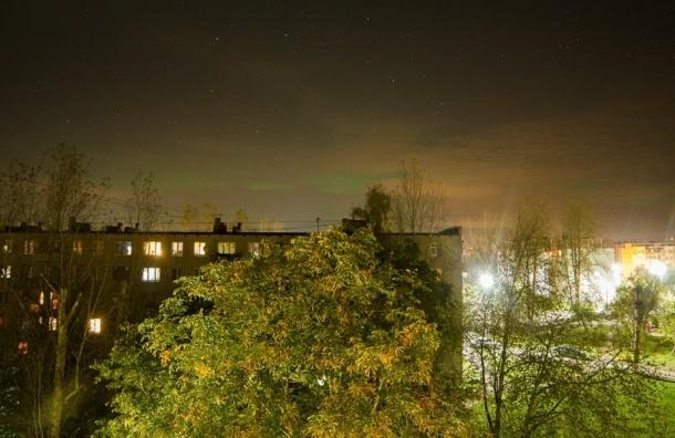 Северное сияние увидели жители Петербурга ночью