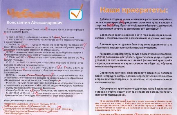 Агитацию с ошибками за главу МО Васильевский распространили по Васильевскому острову