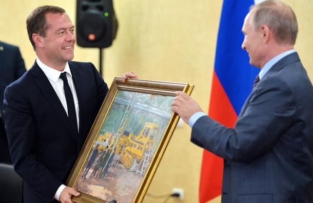 Путин подарил Медведеву на день рождения картину «В цеху»