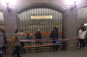 Станцию «Достоевская» закрыли на вход и на выход из-за голубого пакета