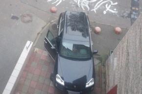 Водитель Porsche на Товарищеском припарковал машину в парадной жилого дома