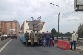 Пассажиры толкают троллейбус на Кушелевской дороге из-за ремонта трассы