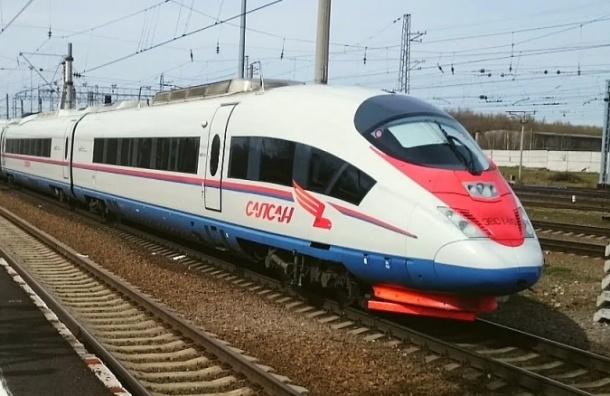 Скоростной поезд «Сапсан» застрял попути вПетербург из-за наледи нарельсах