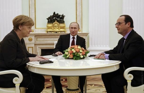 Песков: Путин, Олланд и Меркель обсудят Сирию после переговоров по Украине