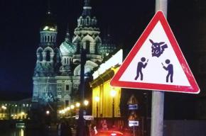 Дорожный знак «Осторожно, ловцы покемонов» появился в Петербурге