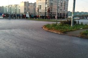 Живая очередь на маршрутку каждое утро ждет жителей Славянки
