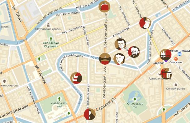 «Яндекс» нанёс на карты места действия «Преступление и наказание»