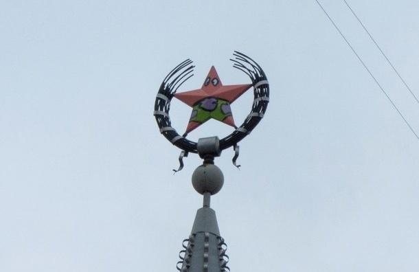 Полиция ищет вандалов, разрисовавших советскую звезду под героя «Губки Боба»