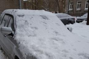 Дворники в Петербурге просят водителей не бояться мягкого снега, сбрасываемого на машины