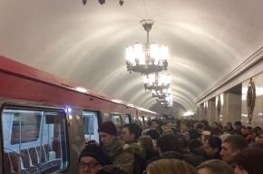 Пассажиров высадили из нового состава на станции метро «Нарвская»