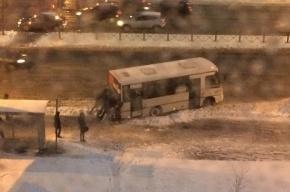 Пассажиры вызволяли маршрутку из снежного плена на Российском проспекте