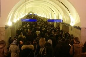 Опаздывающие поезда метро стали причиной давки на синей ветке