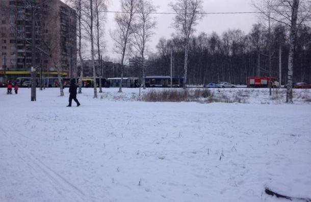 Маршрутка врезалась в троллейбус на проспекте Ветеранов