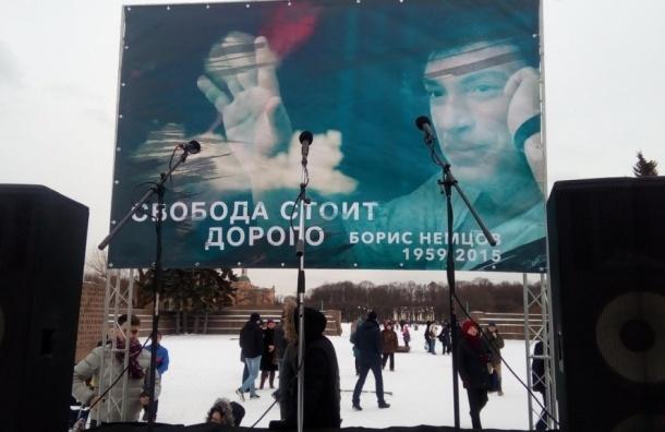 ВПетербурге проходит марш памяти Бориса Немцова